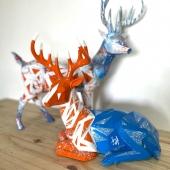Magnifiques cerfs réalisées en partenariat avec @justine_d_art disponibles à la vente 🦌  #art #artwork #oeuvredart #cerf #decorationinterieur #decorationexterieur #statue #oeuvreunique #original #orange #bleu #handmade